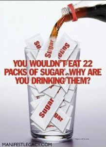 colas--22 packs of sugar in one serving of soda pop